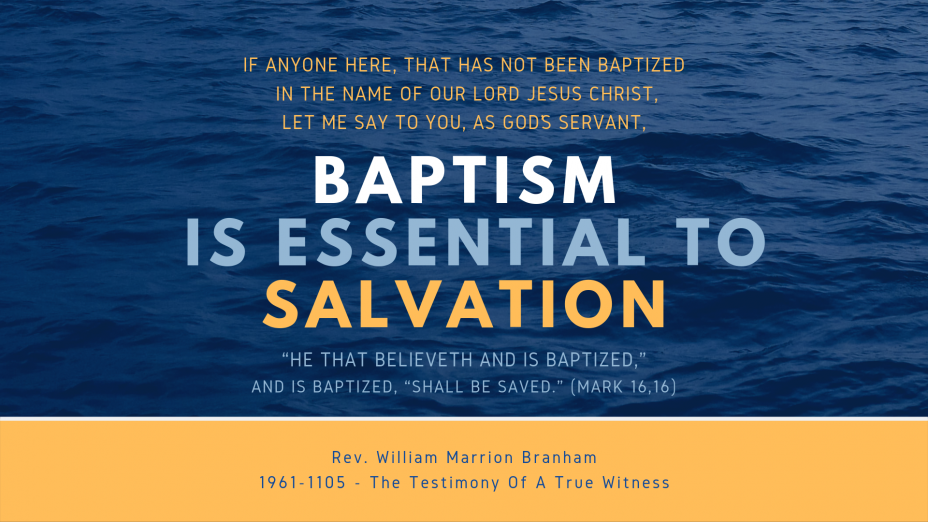 Baptism Is Essential To Salvation